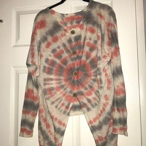 Tie dye asymmetrical button back boutique sweater
